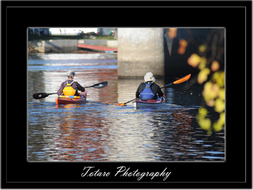 Janet and Bernie kayak off into the morning